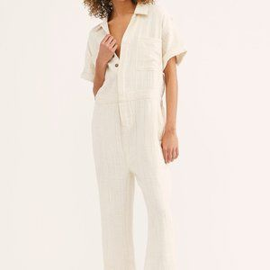 Free People Totally Crushin Jumpsuit White Summer